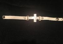 White leather with hammered gold cross snap bracelet 202//141